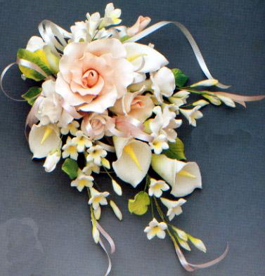 Lg. Peach Tea Rose and Calla Lily Spray Gumpaste Flower